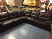 Ex-Display dark brown leather sofa