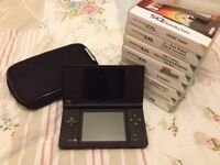 Nintendo DSi and 9 games with case and extras