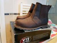 V12 Rawhide steel toe cap safety boots in brown
