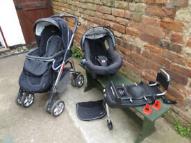 Silver Cross Linear Freeway Stroller with Ventura car seat & isofix base