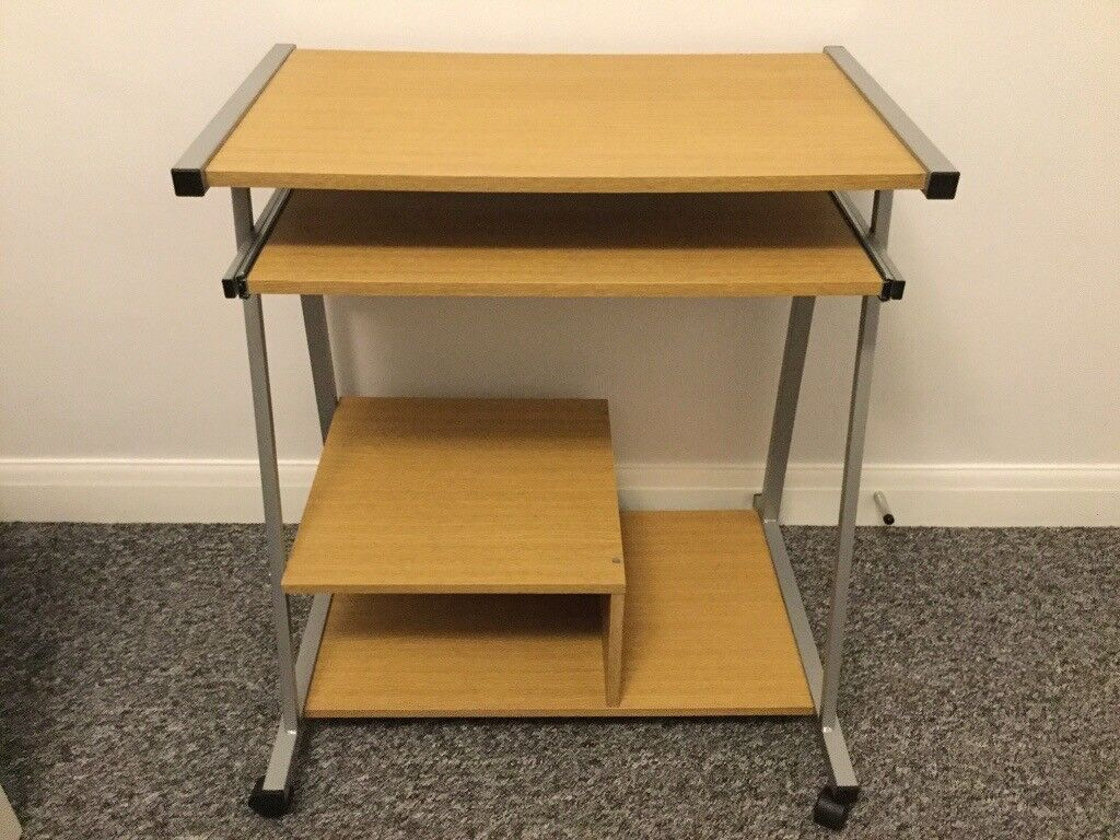 Computer desk metal frame with grey legs on wheels brand new