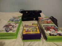 Xbox 360 with Kinect, guitar hero, approx. 30 games and one controller