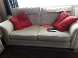 Three Piece beige settee and two arm chairs