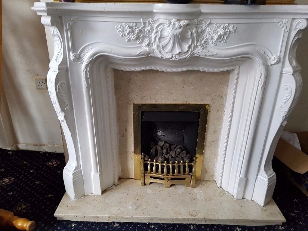 gas fire fireplace plaster fire surround with marble back in