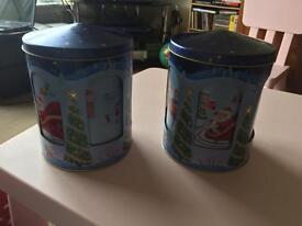 2x musical Christmas tins