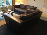 LARGE Brown Sofa Suite - GENUINE LEATHER - 3 & 2 - QUICK SALE NEEDED