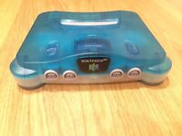 Ice Blue Nintendo 64 w/ Pokemon Stadium 2 & Super Mario