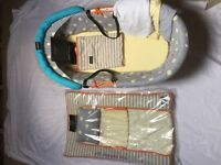 Moses basket, changing mat, blanket, fitted sheets
