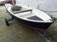 fishing dinghy boat bonwitco 10ft, road trailer.