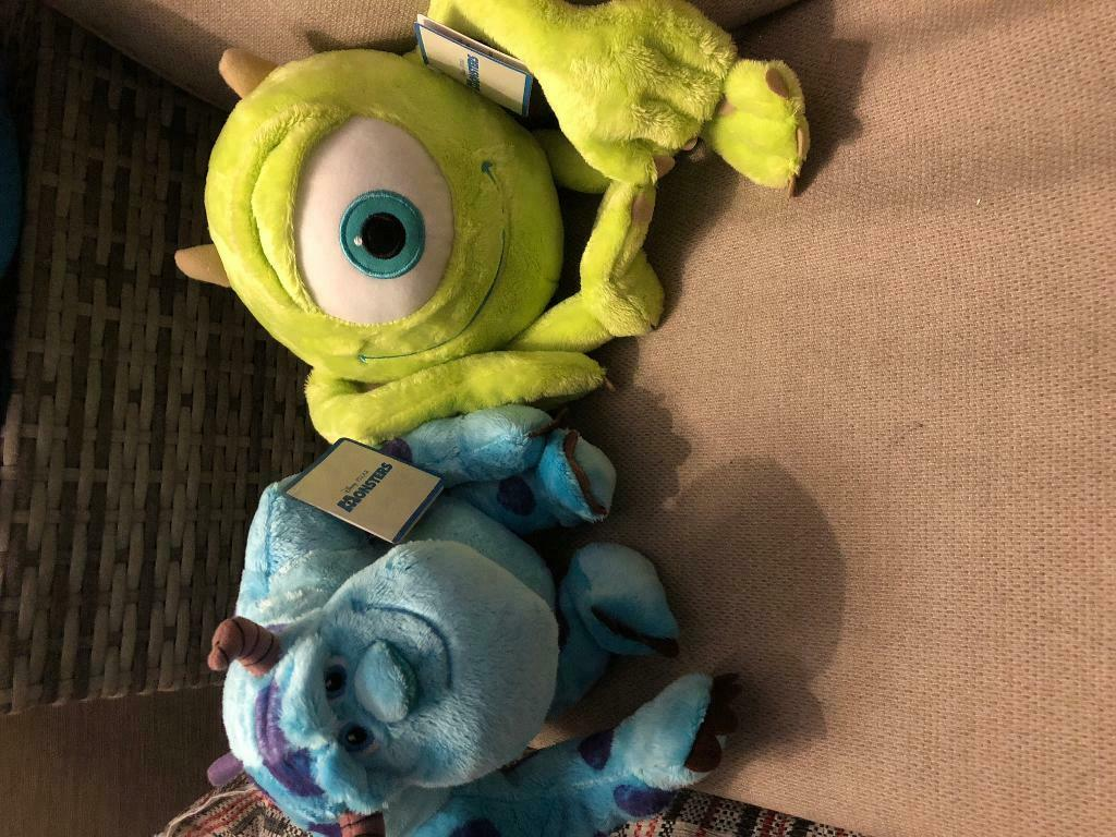 02586a38157 Monsters inc Mike   Sully plush toys