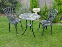 Aluminium (Bistro) Garden Table and 2 Chairs
