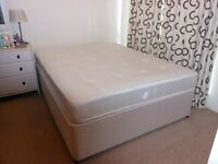 Queen Sized Divan Bed with Mattress. Excellent Condition.