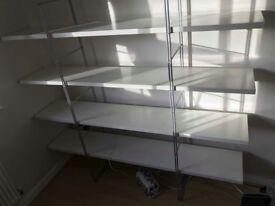 White Ikea freestanding shelves