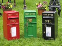 **CAST IRON POST BOXES, (RUST FREE, GARDEN FURNITURE, PATIO)**
