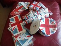 Red White & Blue Union Jack Disposable Tableware incl Paper Plates Cups etc
