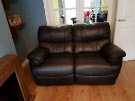 2 and 1 seater sofa in brown leather Hyde ( ALL RECLINING)