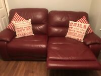 Red reclining leather sofa brilliant condition £50 Ono