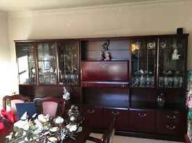 Dinning room Furniture including Table and six Chairs wall display unit/cupboard/draws