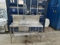 commercial stainless steel single bowl sink with pre Rinse tap and mixer taps