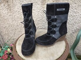 Josef Seibel Boots Wedge Heel- Size 4-Suede &Leather-Ankle-Black-£26