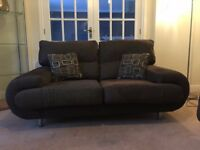 2 Chocolate Brown Fabric Sofa with a silver thread DFS/Sofology