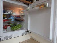 Fridgemaster under counter fridge. White. 135 Litres capacity. Efficiency rating A+.Good condition