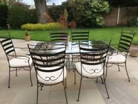 Metal & Glass Ornate Patio Table & 8 Chairs