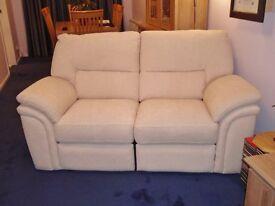 2 Seater Recliner Sofa in Cream Fabric