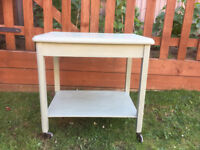 TROLLEY - SHABBY CHIC IN SAGE GREEN WITH SHELF UNDER IN EXCELLENT CONDITION