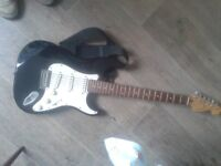 Cruiser crafter electric strat fender strat stratocastor copy guitar clone,no amp,would swap 4 bass