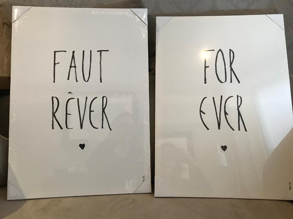 Brand new. Pair of large canvas prints.