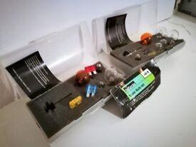 2 sets of Halfords spare car light bulb kits