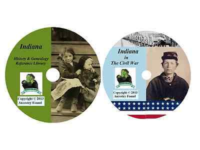 147 old books - INDIANA - History Genealogy Civil War Collection - DVD CD IN