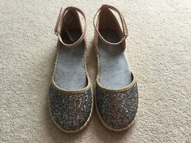 Girls Next pink & silver sparkley glitter shoes with ankle strap size 6 Brand new
