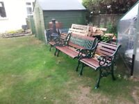 Vintage cast iron bench and chairs