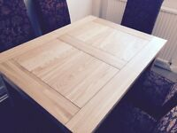 Oak veneer Dining table and 6 chairs