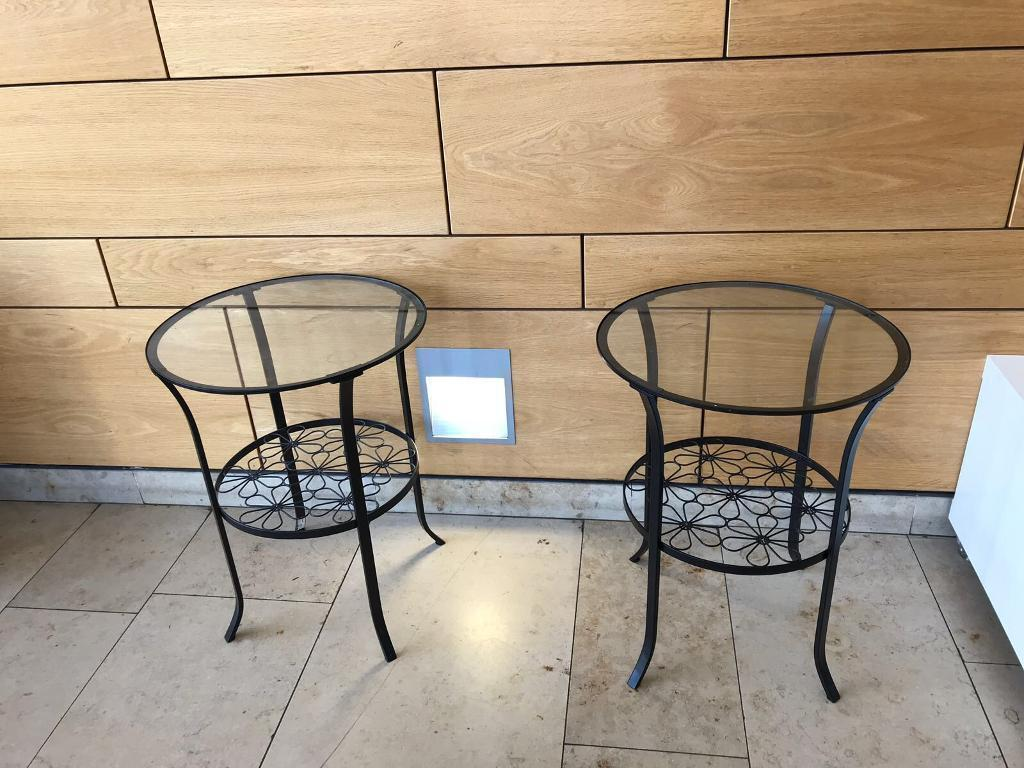 2 Round Glass Top Metal Occasional Tables 29