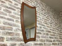 Retro Danish Style Teak Wall Mirror