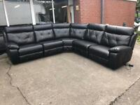 SCS Endurance Ashley large 7-8 seater corner sofa black leather electric power Recliner modular