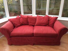 Red scatterback 3-person sofa