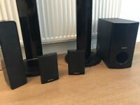 Sony surround sound speakers, amplifier and subwoofer