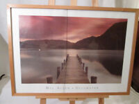Vintage Framed Iconic Photographic Print of Ullswater by Mel Allen. 73cm x 53cm. Glass is Split.