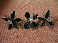 3 Black Brown Silver Artificial Poinsettias / Flowers for Flower Arrangement Xmas Tree Decorations