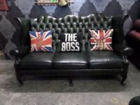 Stunning Chesterfield Queen Anne Wing Back 3 Seater Sofa Green Leather - UK Delivery