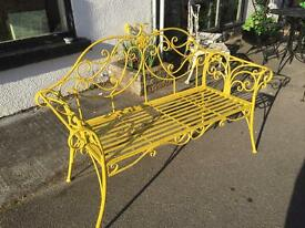 Metal painted garden bench