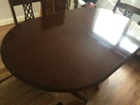 Mahogony Dining table and 4 Chairs