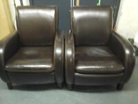 2 leather fireside chairs