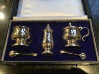 Sterling Silver Cruet Set in Presentation Box - unused condition