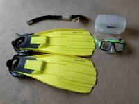 Saekodive fins and Snorkel with mares opera mask.