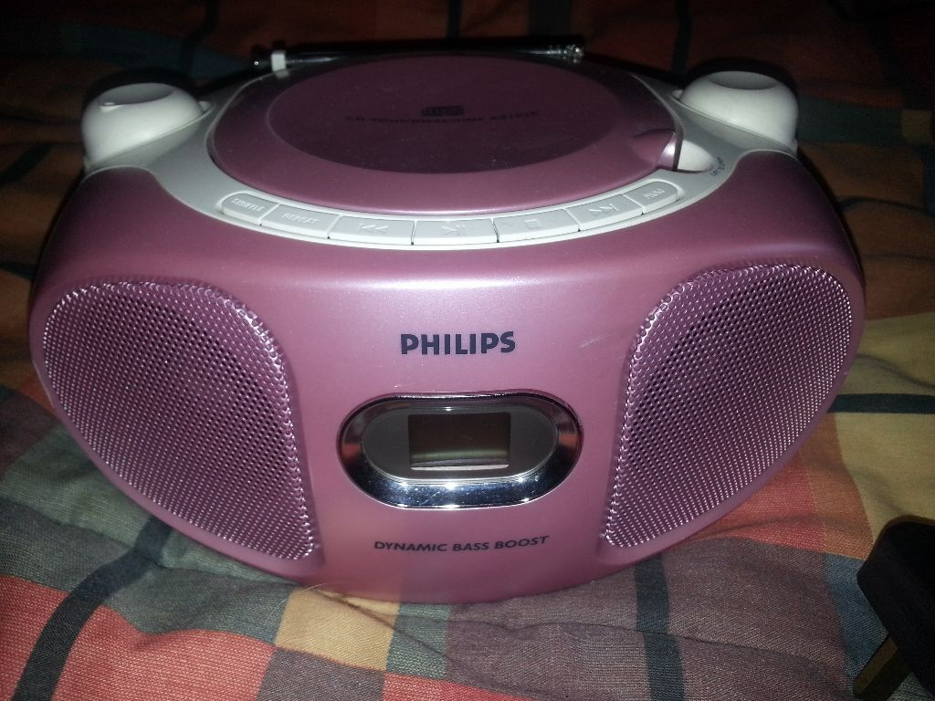 Philips pink compact portable stereo cd player boombox fm - Mobile porta cd ...